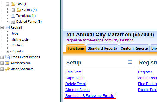 Reminder Emails for Event Registrants